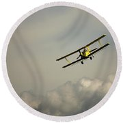 Round Beach Towel featuring the photograph Crop Duster by Bob Cournoyer