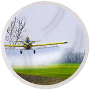 Precision Flying - Crop Dusting 1 Of 2 Round Beach Towel