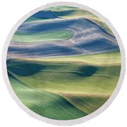 Crops And Contours Round Beach Towel