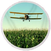 Crops Dusted Round Beach Towel by Todd Klassy