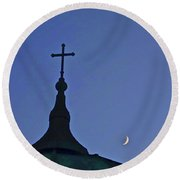 Cross And Moon Round Beach Towel