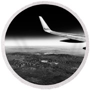 Cross Country Via Outer Space Round Beach Towel