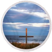 Cross Light Square Round Beach Towel by Terry DeLuco
