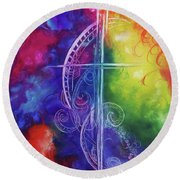Round Beach Towel featuring the painting Cross Of  Promise by Karen Kennedy Chatham