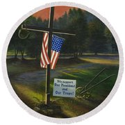 Cross Of Remembrance Round Beach Towel