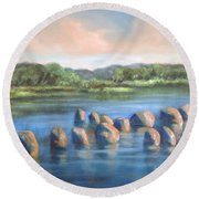 Round Beach Towel featuring the painting Cross Of Rocks  by Randol Burns