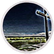Round Beach Towel featuring the photograph Cross On The Hill by Douglas Barnard