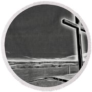 Round Beach Towel featuring the photograph Cross On The Hill V2 by Douglas Barnard