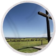 Round Beach Towel featuring the photograph Cross On The Hill V3 by Douglas Barnard