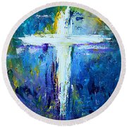 Cross - Painting #4 Round Beach Towel