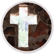 Round Beach Towel featuring the photograph Cross Shaped Window In Chapel  by Colleen Cornelius