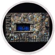 Round Beach Towel featuring the photograph Cross Stained Glass Window by Brenda Bostic