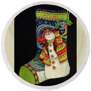Round Beach Towel featuring the photograph Cross-stitch Stocking by Farol Tomson
