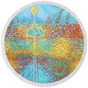 Crosscut Earth Round Beach Towel