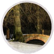 Round Beach Towel featuring the photograph Crossing - 365-278 by Inge Riis McDonald
