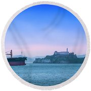 Crossing Alcatraz Round Beach Towel