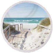 Crossing The Dune Round Beach Towel by Edgar Laureano