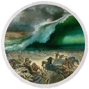 Crossing The Red Sea Round Beach Towel