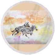 Crossing The River. Round Beach Towel