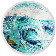 Crossing The Sandbar Round Beach Towel