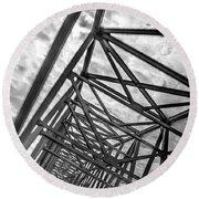 Round Beach Towel featuring the photograph Crossing Through The Chesapeake Bay Bridge by T Brian Jones