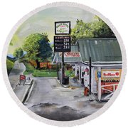 Crossroads Grocery - Elijay, Ga - Old Gas And Grocery Store Round Beach Towel
