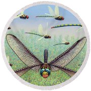 Round Beach Towel featuring the painting Crossways by James W Johnson