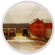 Croton Hydroelectric Plant Round Beach Towel