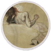 Crouching Woman Round Beach Towel
