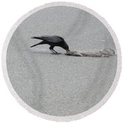 Round Beach Towel featuring the photograph Crow Chowing Down by Marie Neder