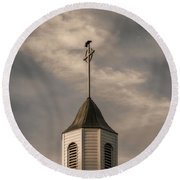 Round Beach Towel featuring the photograph Crow On Steeple by Richard Rizzo