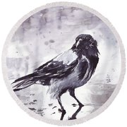 Crow Watercolor Round Beach Towel