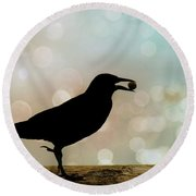 Round Beach Towel featuring the photograph Crow With Pistachio by Benanne Stiens