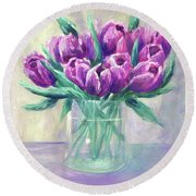 Crowd Of Tulips Round Beach Towel by T Fry-Green