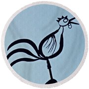 Crowing Rooster Round Beach Towel by Sarah Loft