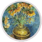 Crown Imperial Fritillaries In A Copper Vase Round Beach Towel