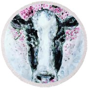 Crown Of Flowers Cow Round Beach Towel