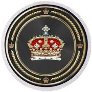 Crown Of Scotland Over Blue Velvet Round Beach Towel