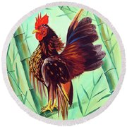 Crown Of The Serama Chicken Round Beach Towel