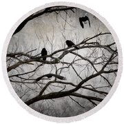 Crows At Midnight Round Beach Towel by Angie Rea