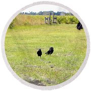 Round Beach Towel featuring the photograph Crows by Chris Mercer