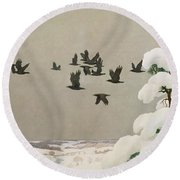 Crows In Winter Round Beach Towel by Newell Convers Wyeth