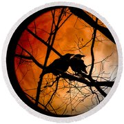 Crows Moon Round Beach Towel