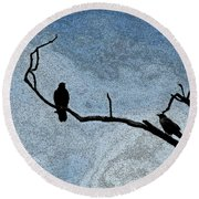 Crows On A Branch Round Beach Towel