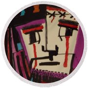 Round Beach Towel featuring the painting Crucifixion Of Christ by Don Koester