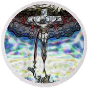 Round Beach Towel featuring the painting Crucifixion Scene by Dave Luebbert