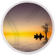 Round Beach Towel featuring the pyrography Cruise by Bess Hamiti