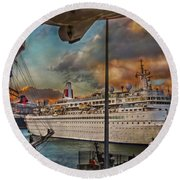 Cruise Port Round Beach Towel