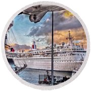 Cruise Port - Light Round Beach Towel