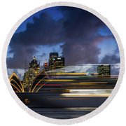 Cruise Ship Sydney Harbour Round Beach Towel